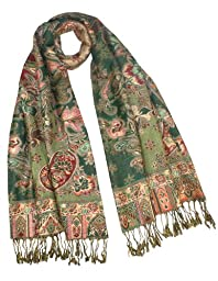 Rayon Metallic Paisley Flower Garden Two-Sided Reversible Scarf - Olive Green