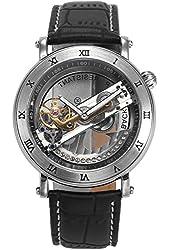 AMPM24 Mens PMW414 Analog Mechanical Skeleton Dial Black Leather Band Wrist Watch