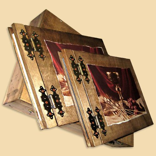 Communion gift set photo album and guest book in box All in wood