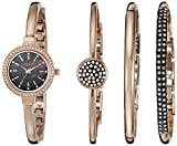 Anne Klein Women's AK/2240RGST Swarovski Crystal-Accented Rose Gold-Tone Bangle Watch and Bracelet Set