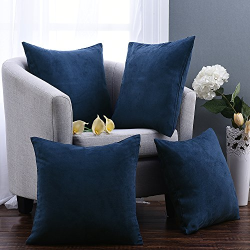 Pony Dance Plain Faux Suede Home Decorative Throw Pillowcase Cover, Navy Blue, 26