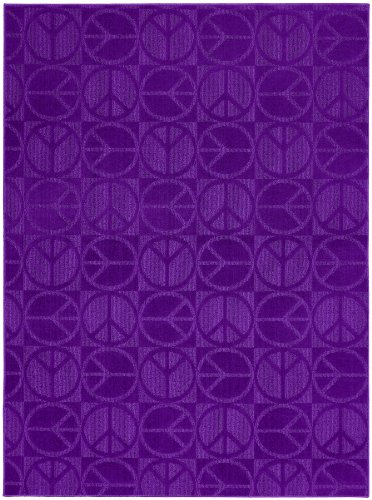 Garland Rug Large Peace Area Rug, 5-Feet By 7-Feet, Purple front-865332