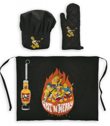 The Simpsons - 4 Piece BBQ / Cooking Accessory Set (Hat, Glove, Apron & Bottle Opener)