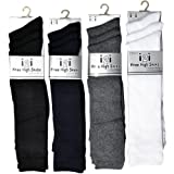 6 Pairs Childrens/Kids Unisex Knee High Socks Cotton Rich With Elastane, Back To School Socks, Various Colours & Sizes