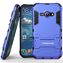 J1 Ace Case, Pasonomi [Slim Fit] [Kickstand Feature] Hybrid Dual Layer Armor Defender Full Body Protective Case Cover for Samsung Galaxy J1 Ace (J110M) 4.3 inch 2015 (Blue)