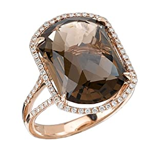 Tivolia Collection Fancy Cushion Smoky Quartz and Diamond 14K Rose Gold Ring