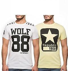 Yo Republic Mens Cotton Tshirt Combo Offer (Pack of 2)(AT-0068-1M_White_Lemon Yellow_Medium)