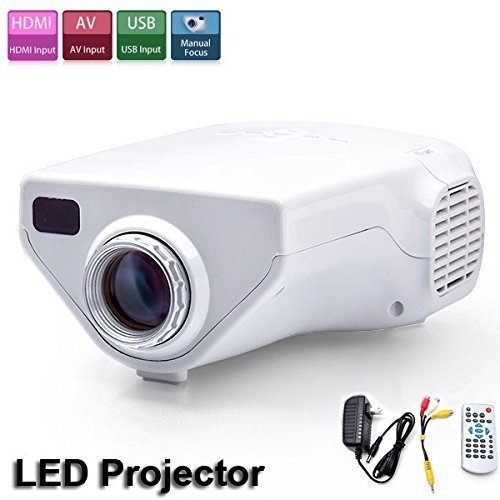 Flylinktech® Portable Mini Led Projector Home Theater Movie Computer Lcd Projectors With USB/HDMI/VGA/AV Input-White