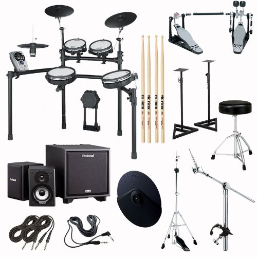 Roland Td-15Kv-S V-Drums Electronic Drum Kit Complete Package With Monitor Bundle, Cables And Stands