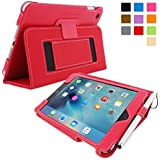iPad Mini 4 Case, SnuggTM - Red Leather Flip Cover and Stand with Automatic Wake / Sleep, Elastic Hand Strap & Soft Premium Nubuck Fibre Interior - Protective Apple iPad Mini 4 Smart Folio Case - Includes Lifetime Guarantee