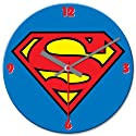 Vandor 74389 Superman Logo Cordless Wood Wall Clock, 13.5-Inch, Multicolored