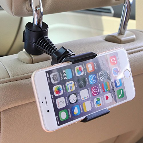 Universal Baby Kids Car Backseat Headrest Car Mount Stand Snap-on Holder with 360 Degrees Rotation 65-95mm for Apple Iphone 4 / 4s / 5 / 5c / 5s / 6 / 6plus , Android Samsung Galaxy S6 S6 Edge S5 S4 S
