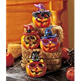 Set of 4 LED Color-changing Ceramic Halloween Pumpkins – $16.95!