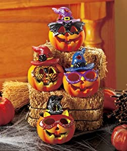 Set of 4 LED Color-changing Halloween Pumpkins Ceramic On/off Button 3-1/4