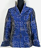 Elegant Satin Damen Jacke Slimfit Blau Verfügbare Größen: 34, 36, 38, 40, 42, 44, 46, 48, 50