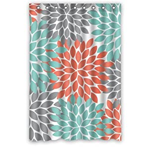 Popular Orange Grey Green Dahlia Floral Pattern Polyester Waterp