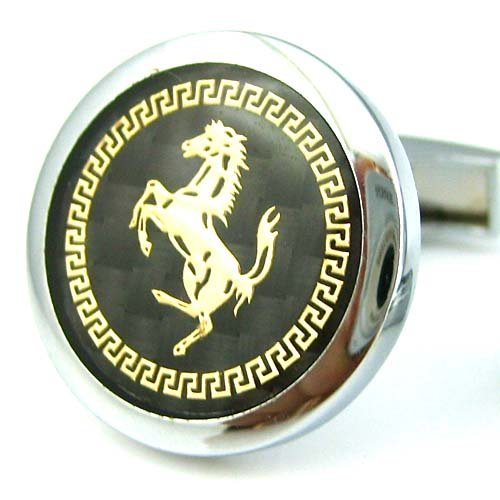 Baracca Ferrari Round Carbon Fiber Background Gold Horse Cufflinks Cuff Links