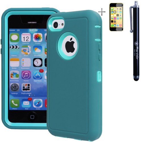 Heavy Duty High Impact Shockproof Dirtproof Hard + Soft Defender Case Cover For Apple Iphone 5C + Stylus + Screen Protector - Teal & Blue