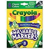 Crayola Broad Point Washable Markers, 8 Markers, Classic Colors Pack of 6