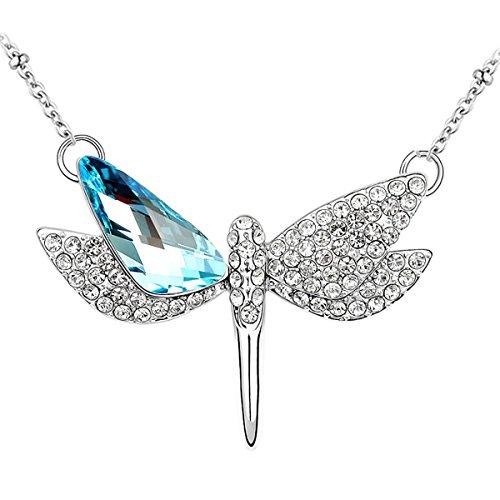 Le Premium® - libellula aperto ali Collana con pendente irregolare triangolo a forma di Swarovski acquamarina blu Cristalli