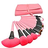 BLUETTEK Professional Cosmetic Wooden Handle Makeup Ultra Soft Brushes Tools Pro Set With Roll Up Pouch Bag (Pink)