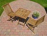 Balkon- & Bistro Set aus Teakholz - Teak 3-tlg. 60 x 60 cm Gartenmöbel Garnitur