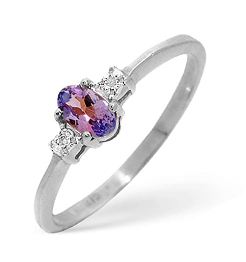 TheDiamondStore | Shoulder Ring - Oval Tanzanites & Diamond - 9K White Gold