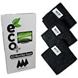 Screen Cleaner - Extra Fine Microfiber Towel (3X) 20cm x 20cm, GREEN PRODUCT, Cleans All Dusts and stains, Best for Laptop, iPhone, iPad, Computers, Touch screens etc. Optical cleaner