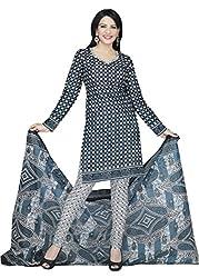 Araham Black Grey & White Printed 100% Cotton Unstitched Salwar Suit Dress Material