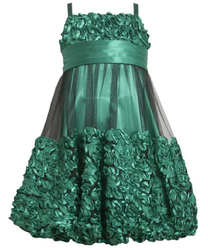 Green Metallic Bonaz Border Mesh Overlay Bubble Dress Gr4Ms Bonnie Jean Tween Girls Special Occasion Flower Girl Holiday Bnj Social Dress, Green front-987204