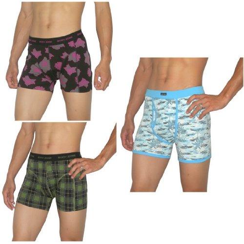 3 PACK: Mens Body Zone Fitted Fine Knit Bodywear Boxer Trunks / Underwear Briefs