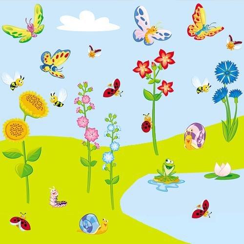 WIESE XXL SET (210 cm x 100 cm) Wandsticker, Wandaufkleber für Baby- und Kinderzimmer günstig