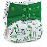 Hi Sprout Unisex Baby Reusable Washable Absorbent Cloth Pocket Diapers, Animal Land, 5 Layer Charcoal Bamboo Insert