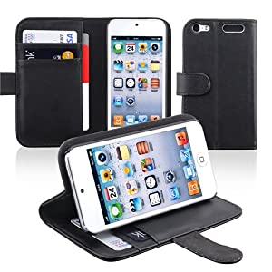 CommonByte Black Wallet Leather w/ Stand Card Holder Case Cover For iPod Touch 5 5th G