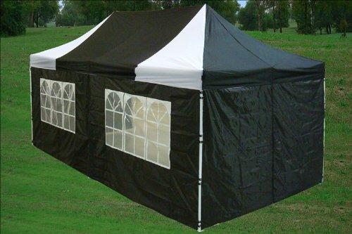 10x20 Pop up 6 Walls Canopy Party Tent Gazebo Ez Black-white