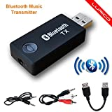Bluetooth Transmitter, LURICO 3.5mm Portable Stereo Audio wireless Bluetooth audio Transmitter for TV, iPod, MP3/MP4, USB Power Supply - TX9