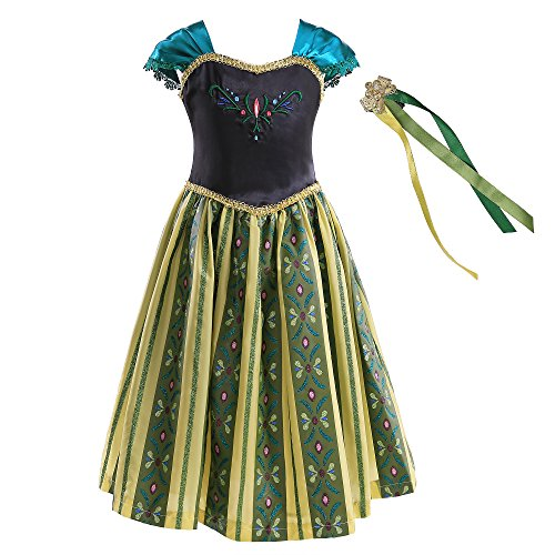 Princess Anna Costume Dress with Hair Comb