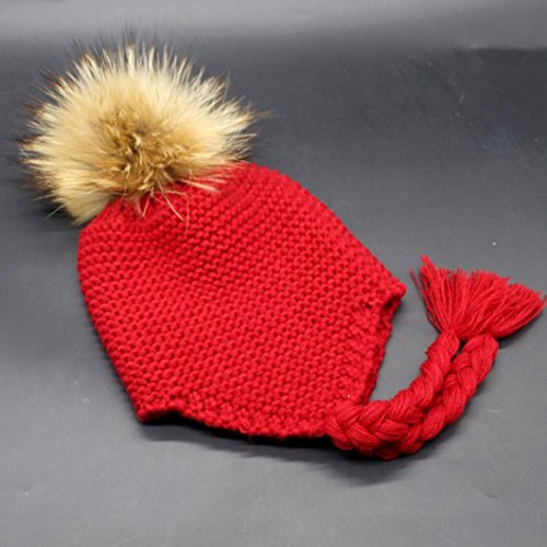 SunWard(TM) Toddler Baby Earmuffs Knitted Warm Winter Infant Boy Girl Cap (Red)