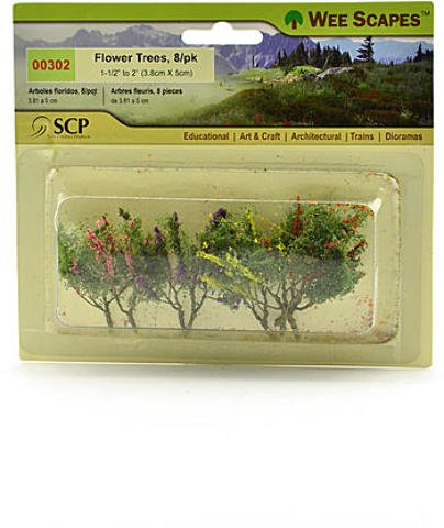 Wee Scapes Architectural Model Flowers & Hedges - Flower Trees - Red, Pink, Yellow, Purple 2 pcs sku# 1848341MA