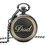 SwitchMe Retro Quartz Pocket Watch Japan Movement with Belt Clip Chain for Dad Bronze
