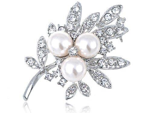 Faux Pearl Bead Crystal Rhinestone Leaf Stem