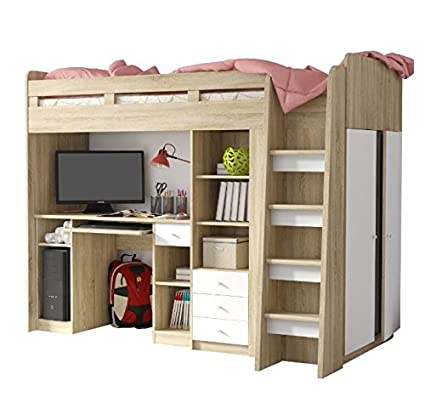 Functional Single High Sleeper Bed with Storage - With Built-in Desk Unit, Wardrobe, 3 Drawers - A Practical Addition to your Child's Bedroom (White / Oak)