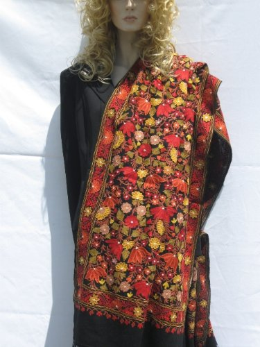 SHAWL CASHMERE PASHMINA WRAP WITH ALL OVER CREWEL EMBROIDERY