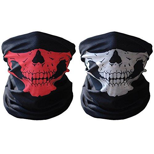 [HAMIST Couples Seamless Skull Face Tube Mask Black&Red] (Halloween Skeleton Mask)