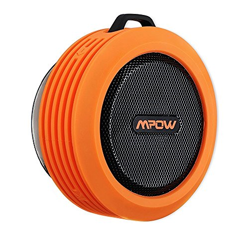 Mpow Blueetooth Speaker,Mpow Buckler Portable Wireless Bluetooth 3.0 Speaker, Water-resistant /Shockproof/Dustproof Wireless Speaker with 5W Drive/Mic/8hr Playtime/Suction Cup for Outdoor/Shower,Orange