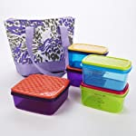 Anna Quilted Lunch Bag Kit with Portion Control Containers (Purple Animal)