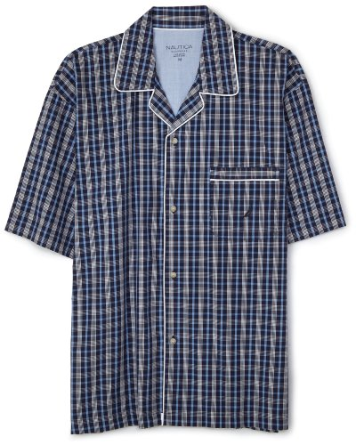 Nautica Men's Pacific Plaid Woven S/S Campshirt, Peacoat, Large