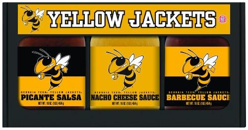 6 Pack Georgia Tech Yellow Jackets Triple Play BBQ Salsa Cheese