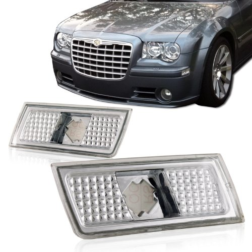 2004-2008 Chrysler 300/300C Chrome Housing Clear Side Marker Turn Signal Bumper Lights (300c Bumper compare prices)