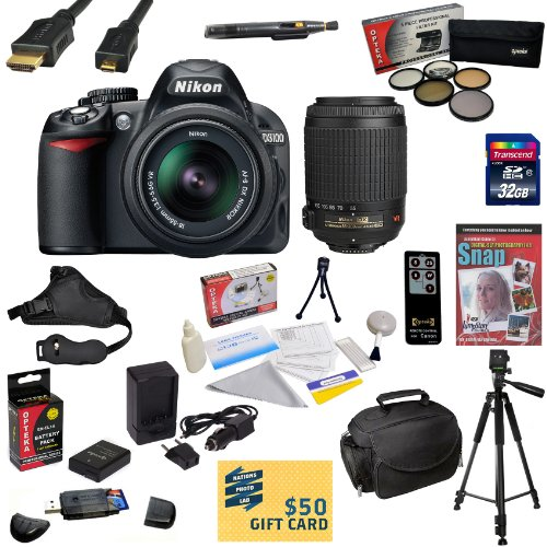 #1  Nikon D3100 Digital SLR Camera with 18-55mm & 55-200mm NIKKOR VR Lens With Must Have Accessory Kit: 32GB High-Speed SDHC Card + Card Reader + Extended Life Battery + Travel Charger + 5 Piece Pro Filter Kit (UV, CPL, FL, ND4 and 10x Macro Lens) + HDMI Cable + Padded Gadget Bag + Remote Control + Professional 60